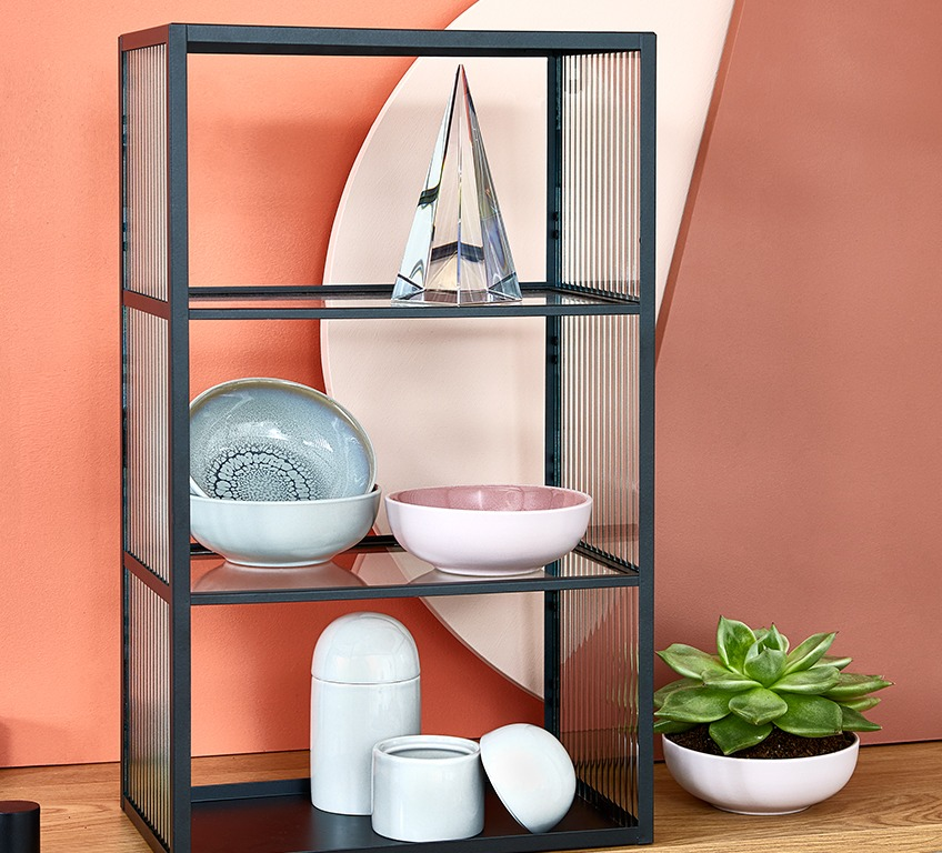 Shelf with ornament, storage jars and bowls
